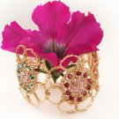 Artisan 14kt Gold filled Flowers bracelet with Swarovski beads