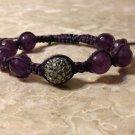 Purple & Grey Rhinestone Shamballa Bracelet