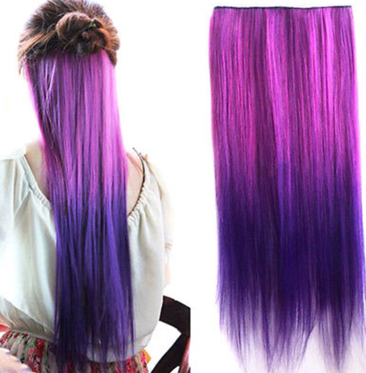 Purple Ombre Clip In Hair Extensions