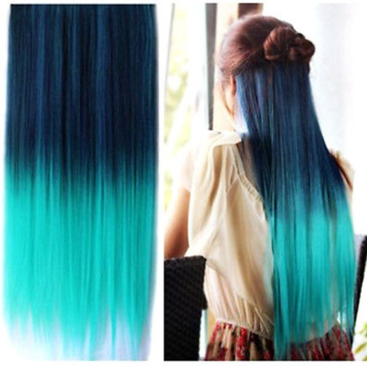 Teal Blue Ombre Clip In Hair Extensions 28 Quot