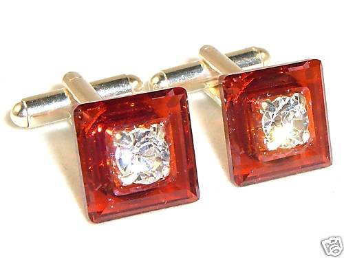 RED MAGMA Crystal Cufflink made with SWAROVSKI ELEMENTS