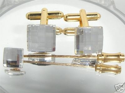Wedding Chess Crystal Cufflinks Cravat Tie Pin Gift made with SWAROVSKI ELEMENTS