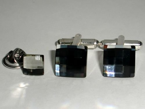 Wedding Chess Crystal Cufflinks & Tack Tie Pin Set made with SWAROVSKI ELEMENTS
