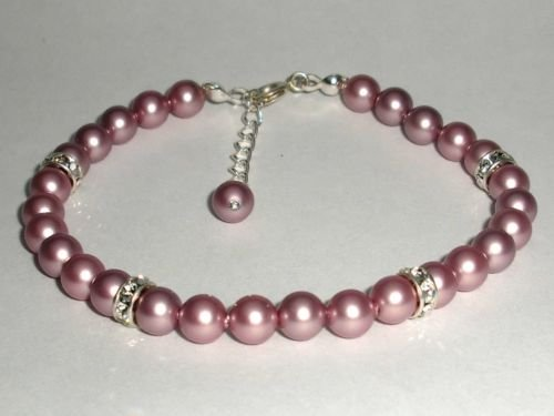 NEW Wedding Xmas Rose Powder Crystal Pearl Bracelet made with SWAROVSKI ELEMENTS