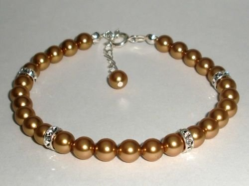 Wedding Xmas Valentine Gold Crystal Pearls Bracelet made with SWAROVSKI ELEMENTS