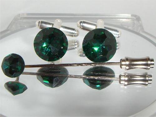 RARE! Crystal Cufflinks and Cravat pin set Best Man made with SWAROVSKI ELEMENTS