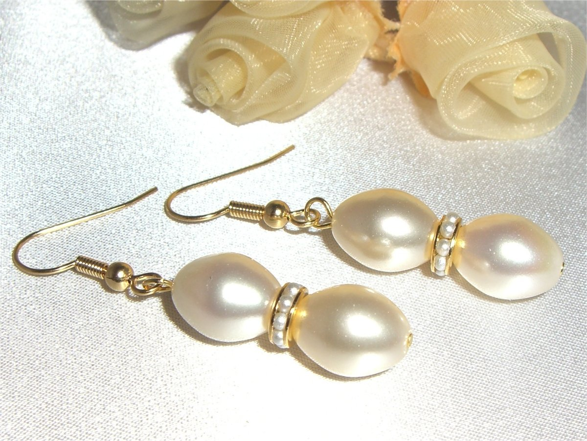 3pc VINTAGE Creamrose Pearls Wedding Jewellery Set made with SWAROVSKI ELEMENTS