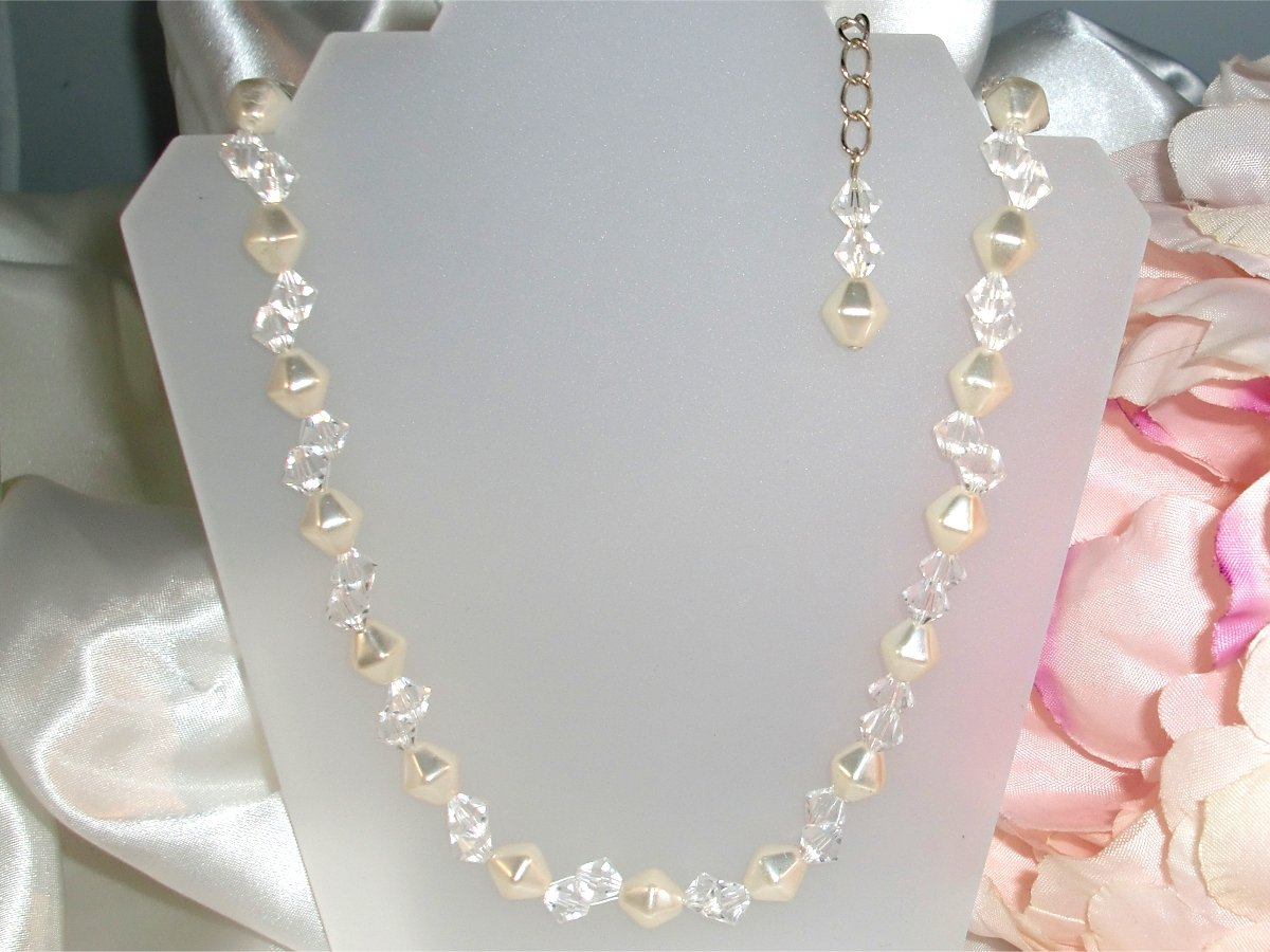 3pc Crystal Pearl Jewelry Sterling Silver Wedding made with SWAROVSKI ELEMENTS
