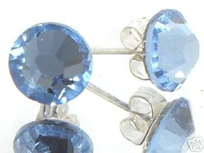 7mm Wedding Lt. Sapphire Crystal Stud Earrings made with SWAROVSKI ELEMENTS