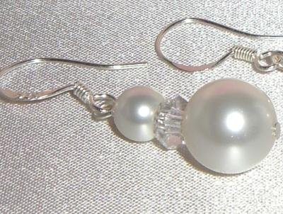 Sterling Silver Wedding Pearl&Rondelle Earrings made with SWAROVSKI ELEMENTS