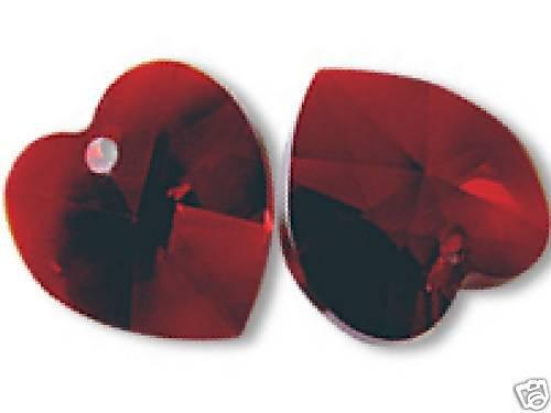 ONE PAIR HEART PENDANTS SIAM 10MM SWAROVSKI ELEMENTS