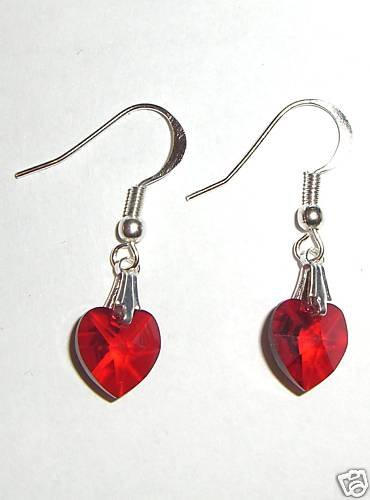 Sterling Silver Siam Crystal Heart  Earrings 925 made with SWAROVSKI ELEMENTS