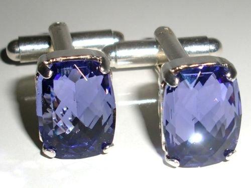 RARE! Wedding Crystal Xmas Tanzanite Gift Cufflinks made with SWAROVSKI ELEMENTS