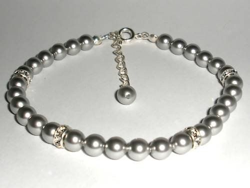 Wedding Xmas Gift Light Grey Crystal Pearl Bracelet made with SWAROVSKI ELEMENTS