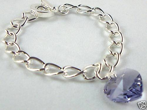 Wedding Xmas Gift Tanzanite Crystal Heart Bracelet made with SWAROVSKI ELEMENTS