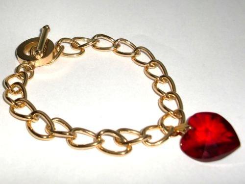 Wedding Valentine Xmas Siam Crystal Heart Bracelet made with SWAROVSKI ELEMENTS