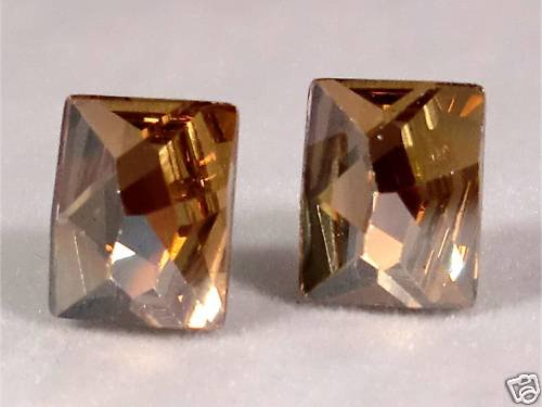 Wedding Golden Shadow Crystal Cosmic Studs Earrings made with SWAROVSKI ELEMENTS