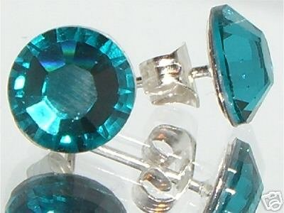 7mm Wedding Gift Blue Zircon Crystal Stud Earrings made with SWAROVSKI ELEMENTS