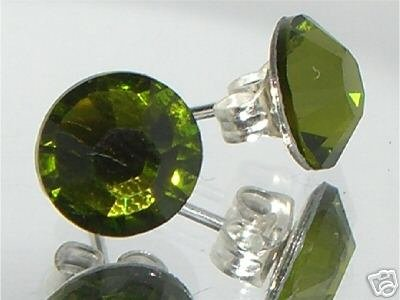 7mm Wedding Bridal Olivine Crystal Stud Earrings made with SWAROVSKI ELEMENTS