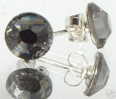 7mm Wedding Gift Bl.Diamond Crystal Stud Earrings made with SWAROVSKI ELEMENTS