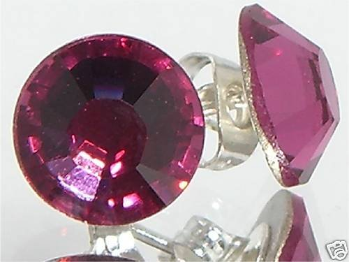 7mm Wedding Bridal Fuchsia Crystal Stud Earrings made with SWAROVSKI ELEMENTS