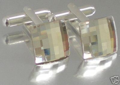 Wedding Chess Clear Crystal Groom Usher Cufflinks made with SWAROVSKI ELEMENTS