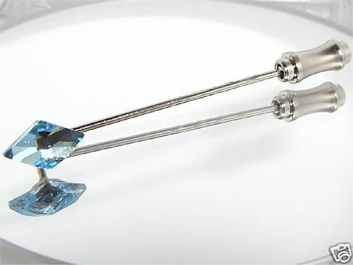 Wedding Groom RHOMBUS Aqua Crystal Cravat Tie Pin made with SWAROVSKI ELEMENTS