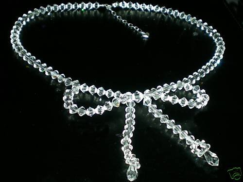WOW! Wedding Bridal Favour Crystals Bow Necklace made with SWAROVSKI ELEMENTS