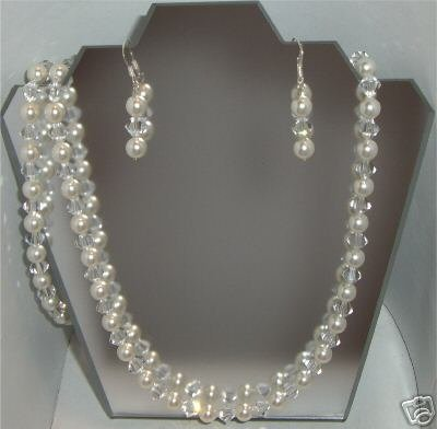 Wedding Pearl&Crystal Necklace Bracelet & Earrings made with SWAROVSKI ELEMENTS