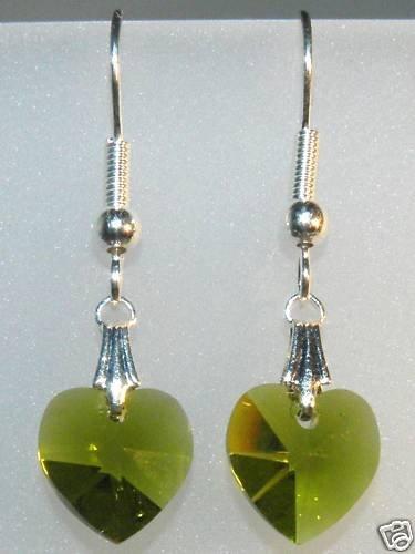 Wedding Bridal Gift Olivine Crystal Heart Earrings made with SWAROVSKI ELEMENTS
