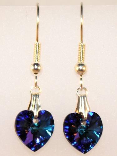 Wedding Bride Heliotrope Crystal Heart Earrings made with SWAROVSKI ELEMENTS