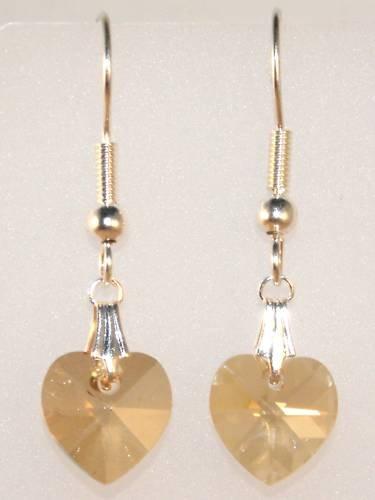 Wedding Bride Golden Shadow Crystal Heart Earrings made with SWAROVSKI ELEMENTS