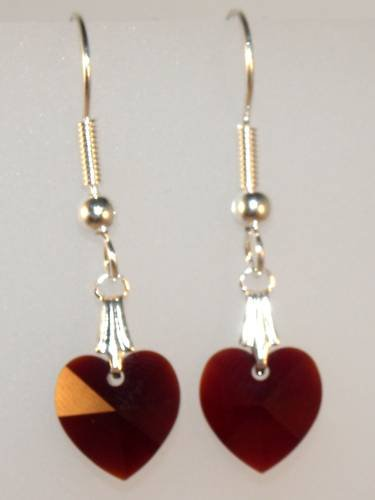 Wedding Xmas Gift Garnet Crystal Hearts Earrings made with SWAROVSKI ELEMENTS