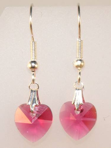 Wedding Bridal Gift Fuchsia Crystal Heart Earrings made with SWAROVSKI ELEMENTS