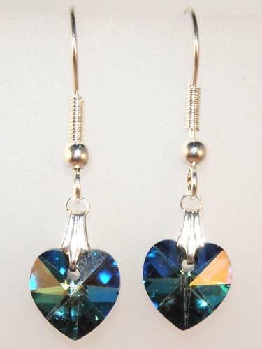 Wedding Bride Bermuda Blue Crystal Heart Earrings made with SWAROVSKI ELEMENTS