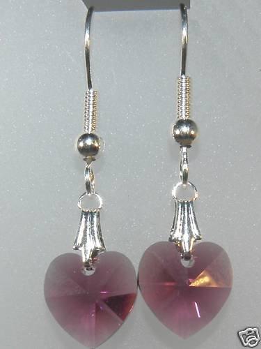 Wedding Bridal Gift Amethyst Crystal Heart Earrings made with SWAROVSKI ELEMENTS