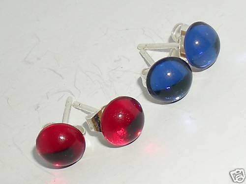 2 pairs Red & Blue Crystal Cabochon Studs Earrings made with SWAROVSKI ELEMENTS