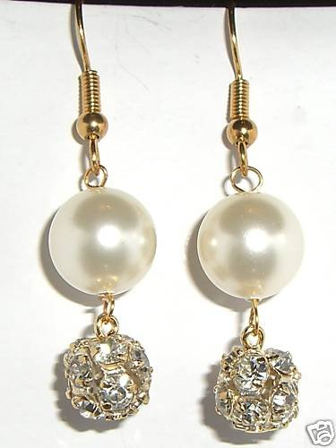 Wedding Xmas Gift Crystal Pearl & Ball Earrings made with SWAROVSKI ELEMENTS