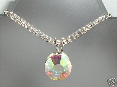 Wedding 11mm Flatback Crystal Clear AB Necklace made with SWAROVSKI ELEMENTS
