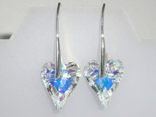 Xmas Wedding Valentine Wild Heart Crystal Earings made with SWAROVSKI ELEMENTS