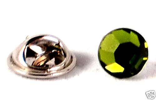 8.5mm Wedding Crystal Olivine Lapel Tack Tie Pin made with SWAROVSKI ELEMENTS