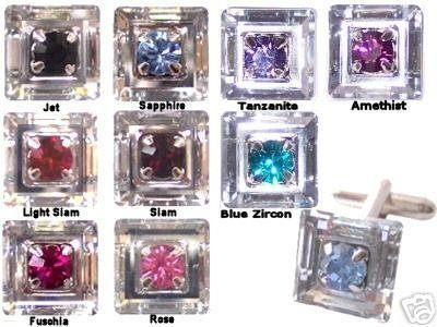 Crystal Cufflinks 9 Colours Insets Wedding Groom made with SWAROVSKI ELEMENTS