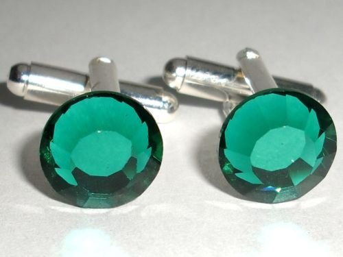 RARE! Wedding Party Gift Emerald Crystal Cufflinks made with SWAROVSKI ELEMENTS