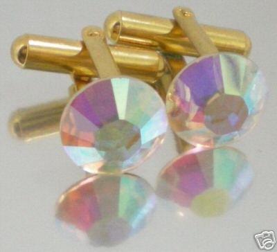 Wedding Groom Golden Gift Crystal AB Cufflinks made with SWAROVSKI ELEMENTS