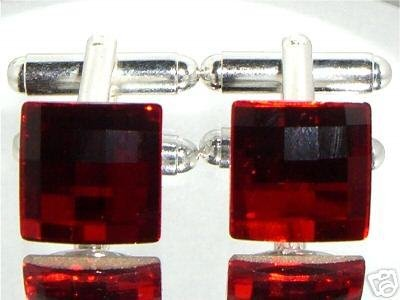 Red Chess Crystal Wedding Groom Usher Cufflinks made with SWAROVSKI ELEMENTS