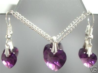 Heart  Pendant Set Silver made with SWAROVSKI ELEMENTS