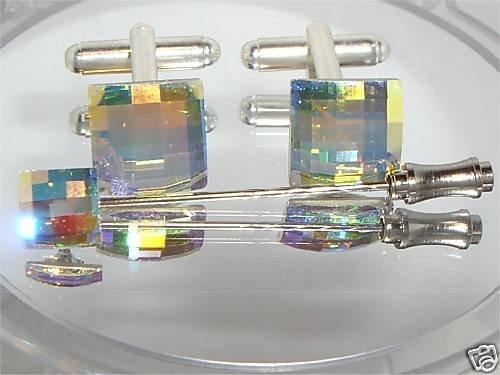 Wedding Chess Crystal AB Cufflinks Tie Pin Groom made with SWAROVSKI ELEMENTS