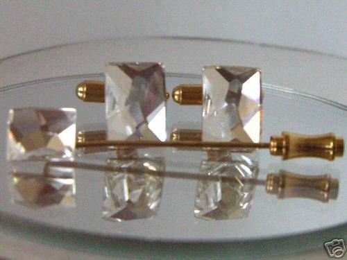 Wedding Cosmic Crystal Cufflinks & Cravat Tie Pin made with SWAROVSKI ELEMENTS