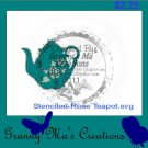 Stencil-Rose Teapot