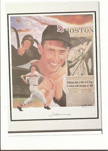 Ted Williams Boston Red Sox Hand Bonded Baseball Card Oddball Plain Back 1991